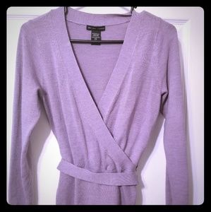 Lavender v low cut sweater